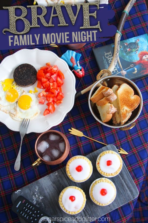 A fun and super easy family movie night plan inspired by Disney's Brave. Includes free printable movie night planner, craft instructions and recipes