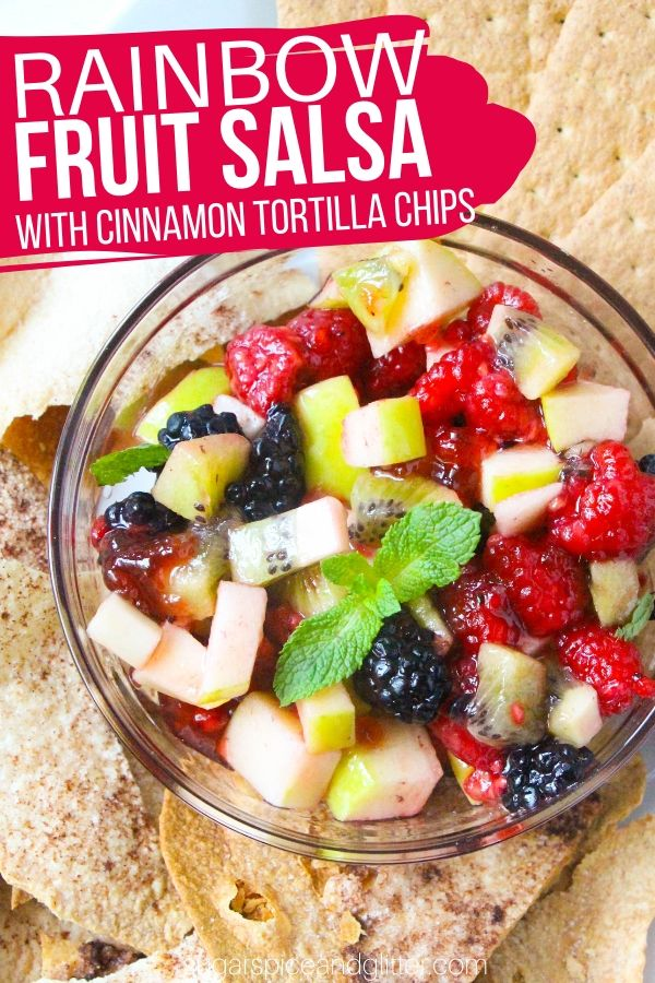 A delicious dessert salsa made with fresh fruit and served with homemade cinnamon tortilla chips. An indulgent yet healthy dessert option at only 128cal and 9g of sugar per serving!
