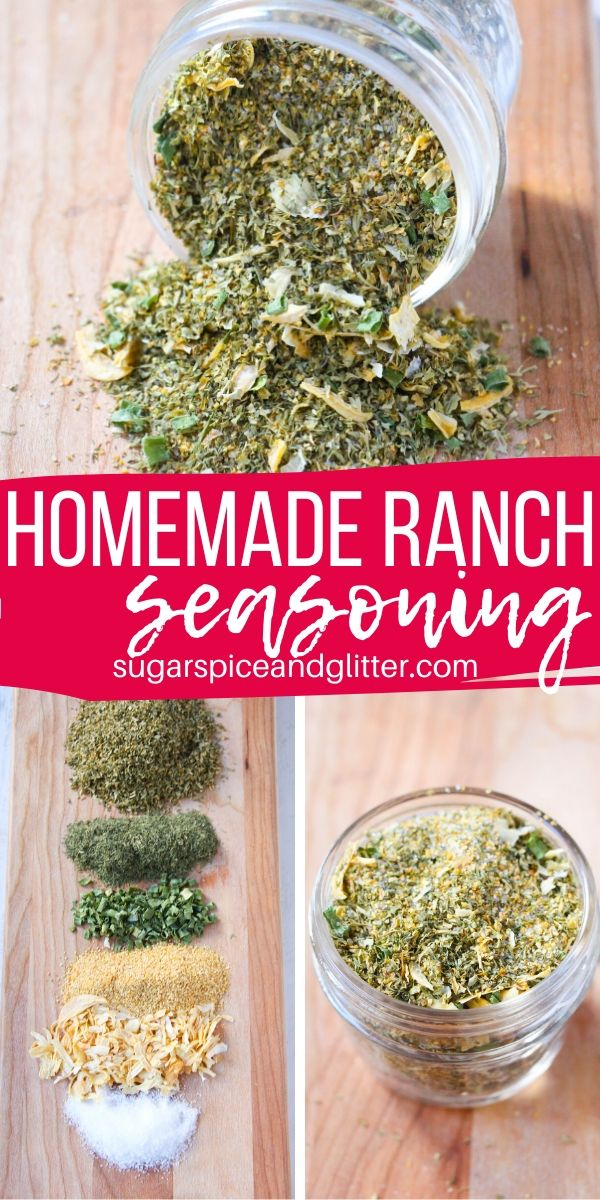 A super simple recipe for homemade ranch seasoning - perfect on popcorn, chicken, roasts or even veggies! Skip all the nasty ingredients in the store-bought stuff and save money, too!