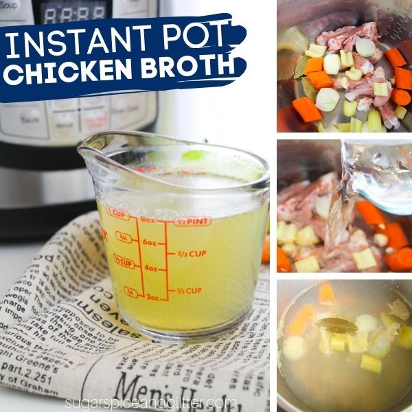 How to make the best homemade chicken broth in less than an hour with your Instant Pot! The perfect way to use up vegetable scraps and get extra use out of those chicken bones