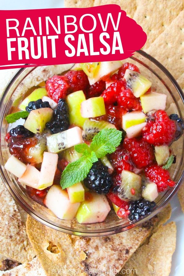 How to make a quick and easy Rainbow Fruit Salsa, a healthy dessert option that tastes just like fruit pie, especially when you serve it with homemade cinnamon tortilla chips