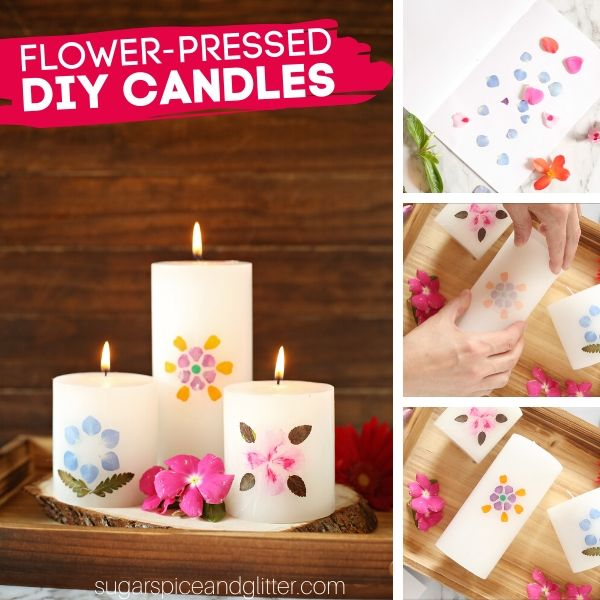How to make Flower-Pressed Candles, using pillar candles and freshly picked flowers