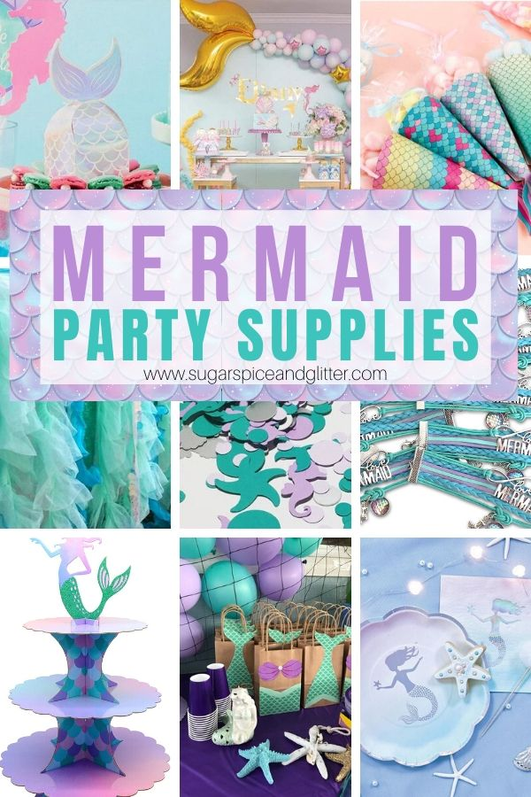 Everything you need to plan an EPIC Mermaid Birthday Party - mermaid decor, mermaid party favors, items for your Mermaid Dessert table, and even Mermaid Party Outfits for the whole family
