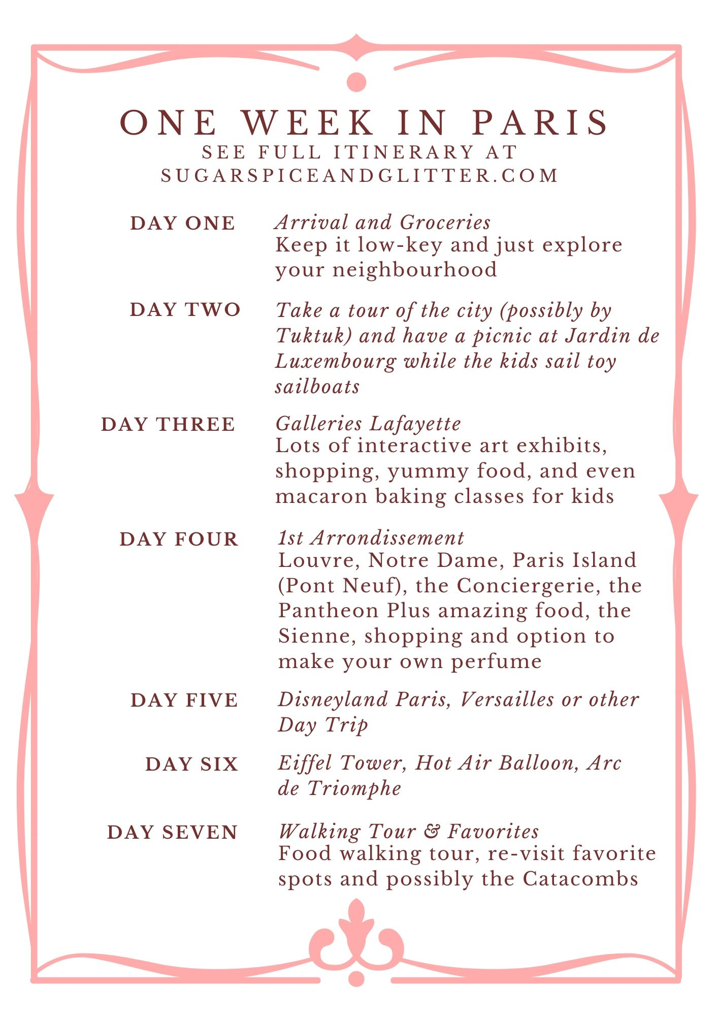 A free printable Paris Itinerary for an amazing Week in Paris with Kids! Get the full details and links to each activity on the website