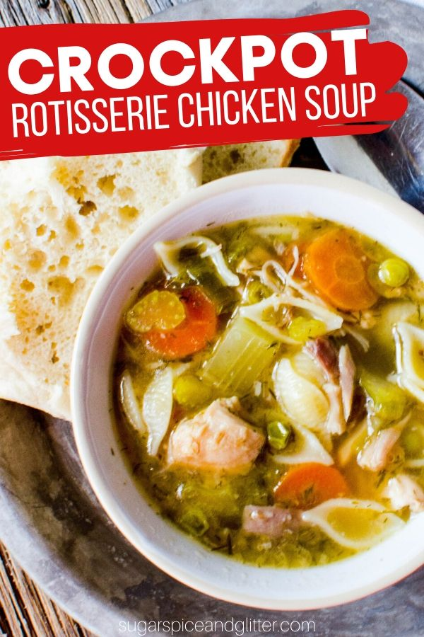 The perfect comfort food on a cold day, this Crockpot Chicken Soup uses leftover rotisserie chicken to make the most amazing, flavorful broth. Use plain chicken and your favorite seasonings if you don't have rotisserie chicken.