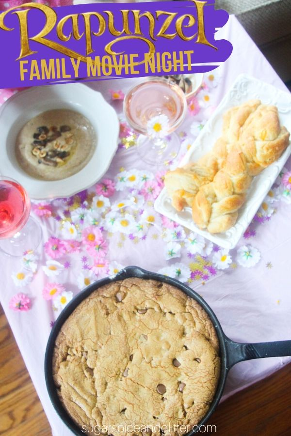 A fun Disney movie night inspired by Rapunzel in Tangled. Hazelnut soup, homemade garlic bread braids, a skillet chocolate chip cookie and even a Rapunzel cocktail for the adults! Plus crafts and decor ideas