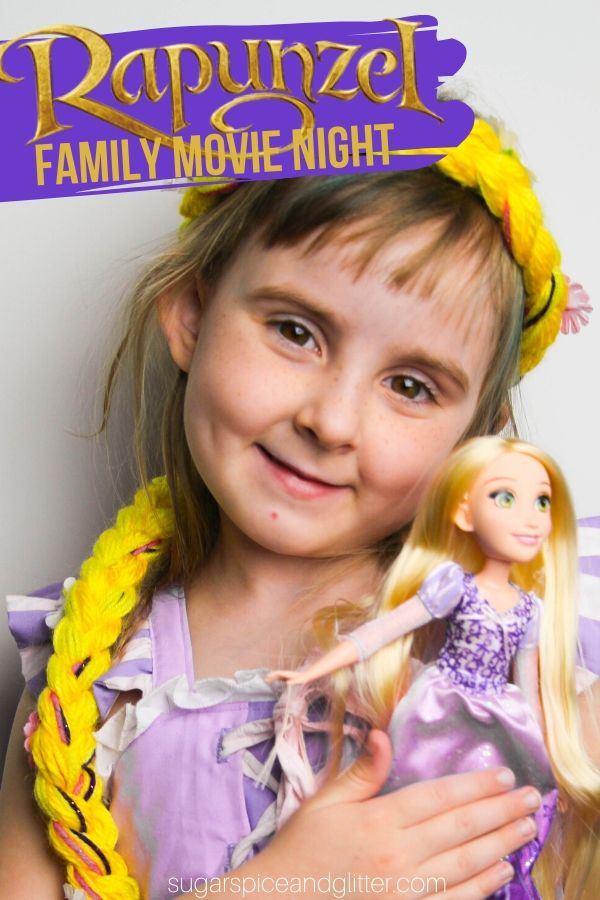 The perfect family movie night for Tangled/Rapunzel: themed menu, crafts, decor ideas and a free printable planner. An awesome family tradition everyone will love