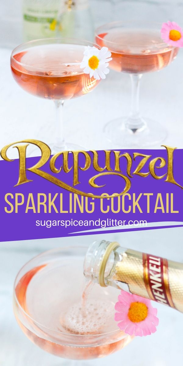 Sweet and bubbly - just like Rapunzel! These champagne cocktails are perfect for toasting to a Disney vacation or adding to a Disney movie night