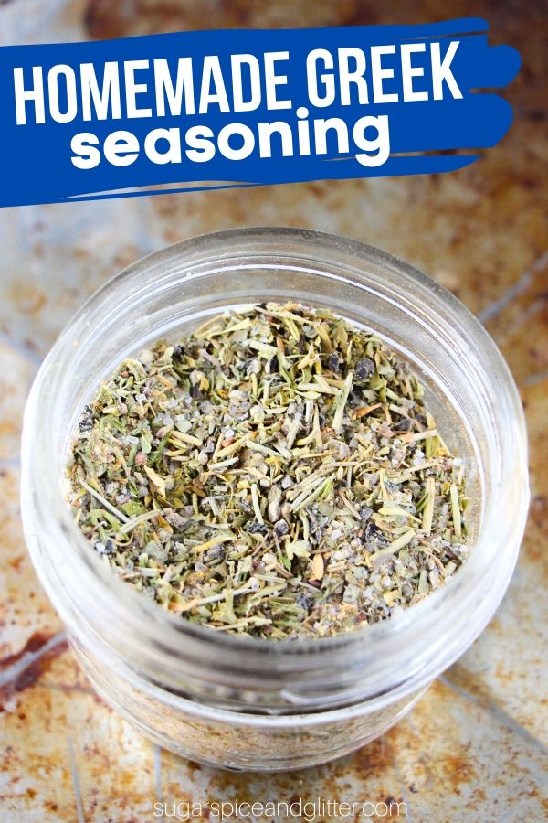 A super simple recipe for homemade Greek seasoning - perfect for adding to all of your favorite dishes or making homemade greek salad dressing!
