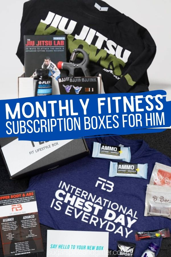 Support his fitness goals with these unique monthly fitness subscription boxes for him - brazilian jiu jitsu, cross fit, etc.