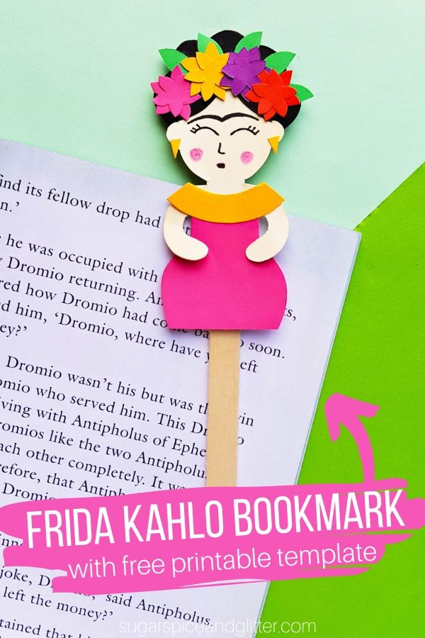 Grab your free printable template to make your own Frida Kahlo bookmark or popsicle stick puppet - perfect for a Frida Kahlo artist study