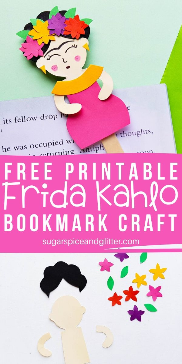 Frida Kahlo is the perfect female artist to study - whether learning about self-portraits or Mexican art. This easy Frida Kahlo inspired craft for kids makes a great bookmark or popsicle stick puppet
