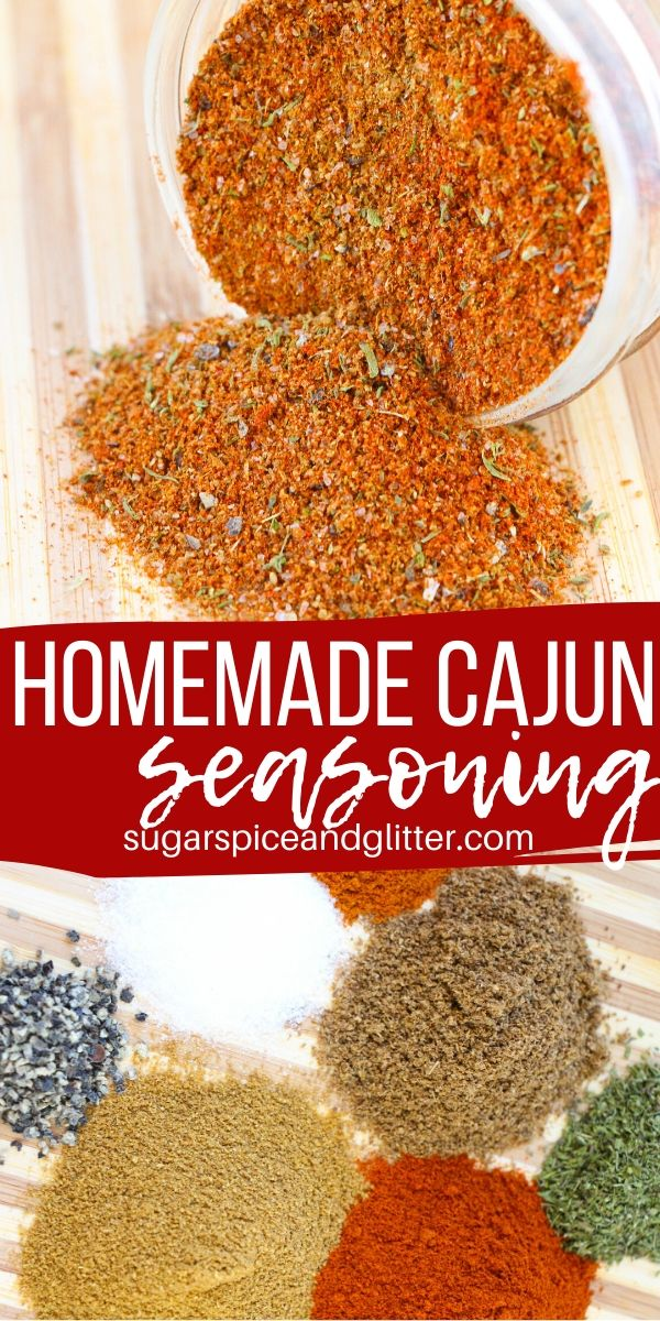 Add some spice to your next meal with this easy homemade cajun seasoning. Skip the expensive little bottles at the store, plus all their preservatives, by making your own! Makes a great homemade gift, too!