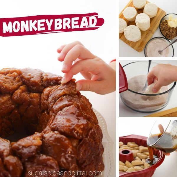 How to make the best ever Cinnamon Roll Monkey Bread - just 5 ingredients and less than 10 minutes prep time!