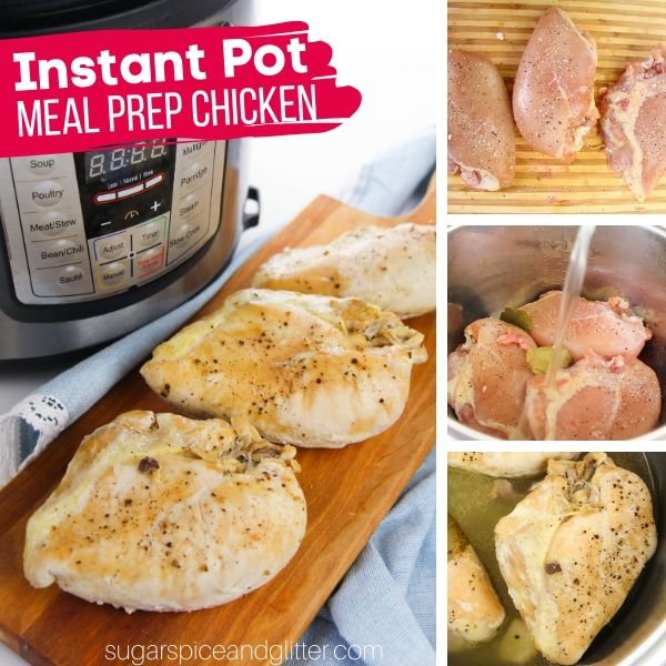How to meal prep chicken using your instant pot - less than 2 minutes of prep work!