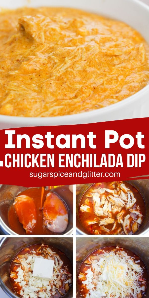 The perfect cheesy party dip, this Instant Pot Chicken Enchilada Dip has all of the flavors of your favorite chicken enchiladas, in a yummy dip form! Perfect for parties or late-night comfort food