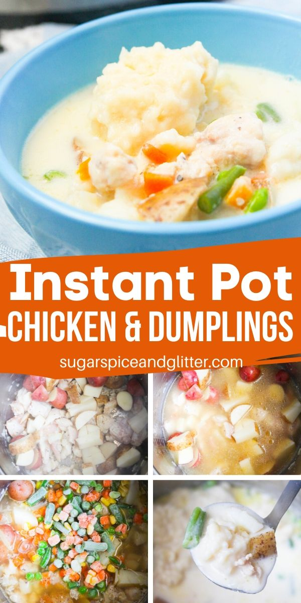 A super simple recipe for flavorful Instant Pot chicken and dumplings - ready in less than 20 minutes! Fluffy dumplings, perfectly cooked chicken and flavorful gravy
