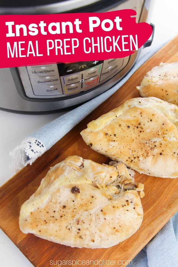 The easiest way to meal prep chicken - using your Instant Pot to poach chicken! This method takes 2 minutes active prep time and results in juicy, tender chicken that shreds effortlessly