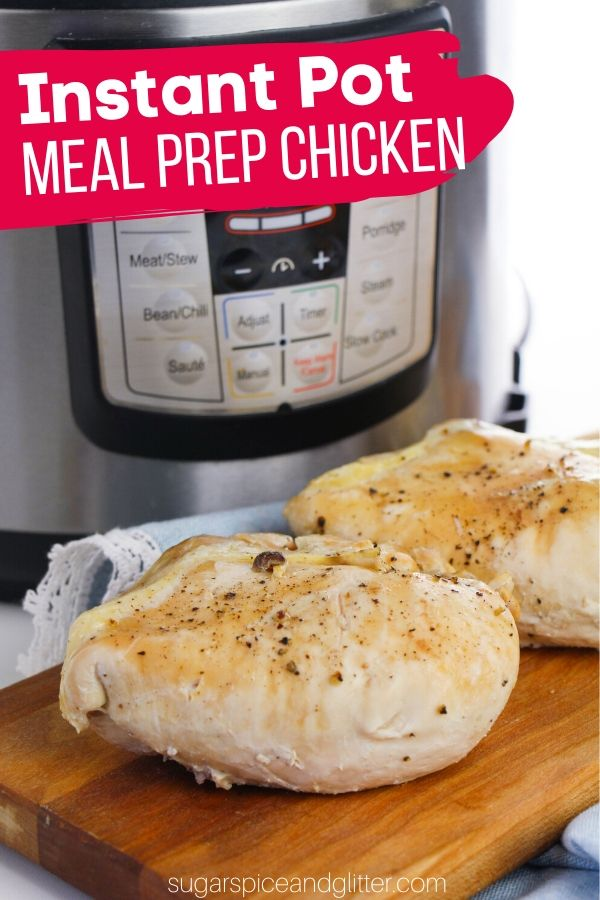 A quick and easy method for meal prepping chicken in your instant pot! The perfect way to cook bone-in chicken to use in multiple recipes throughout the week
