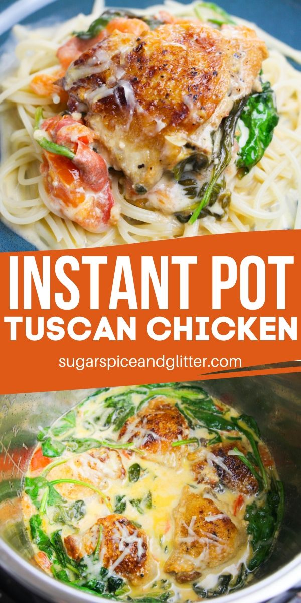 Easy Italian Chicken recipe made completely in the Instant Pot! This Instant Pot Tuscan Chicken is ready to eat in less than 20 minutes