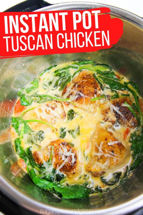 Creamy and delicious Instant Pot Tuscan Chicken - a 20 minute Instant Pot chicken recipe the whole family will love! Serve over pasta, rice or veggies