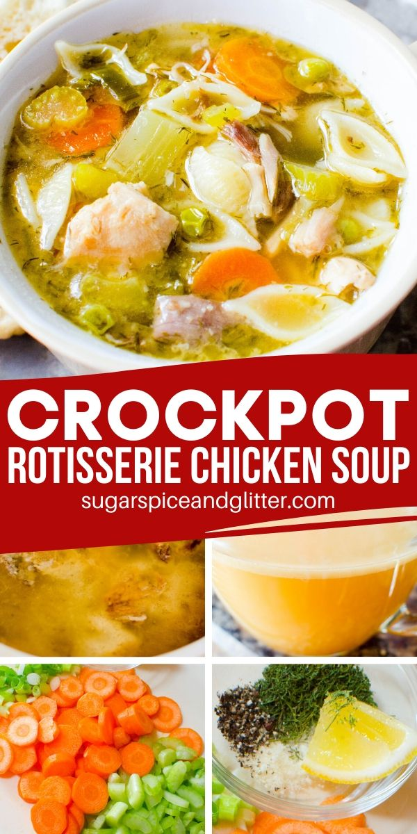A super simple recipe for crockpot chicken soup - the perfect crockpot comfort food. Use a leftover rotisserie chicken to make the best broth ever, or use plain chicken and rotisserie seasoning