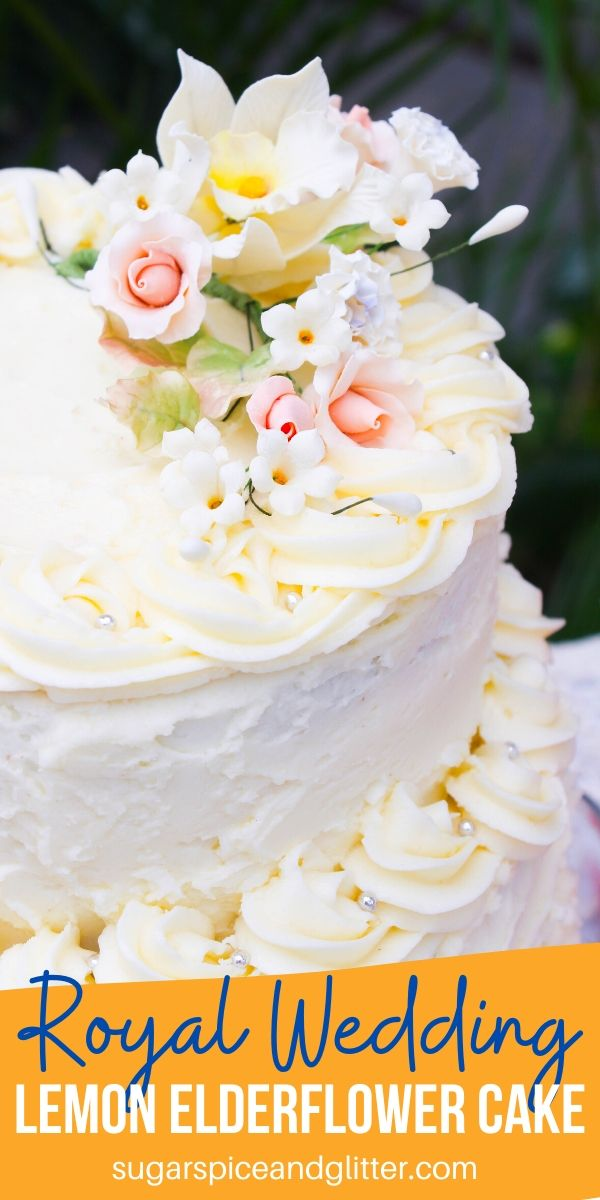 This Lemon Elderflower Cake is perfect for a bridal shower or engagement party. Inspired by the cake at Meghan Markle's Royal Wedding, this cake is the best lemon cake you will ever taste!