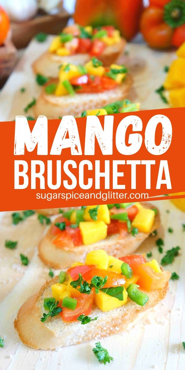 10-minute Mango Bruschetta is the perfect summer appetizer. This fun twist on a classic bruschetta is sweet and savoury, perfect for summer parties!
