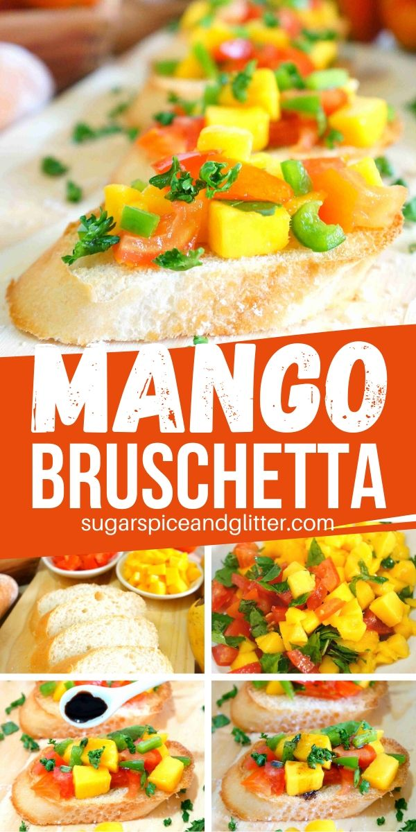 Mouth-watering mango bruschetta is the perfect summer appetizer, using fresh mango, tomatoes and sweet bell peppers. Something a bit fun and unexpected for your next summer party