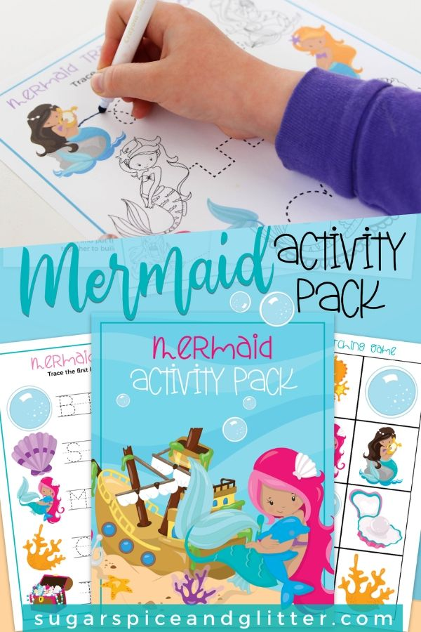 FREE Printable Mermaid Activity Pack - includes tracing activities for fine motor development, a mermaid puzzle, mermaid matching game and mermaid coloring sheet