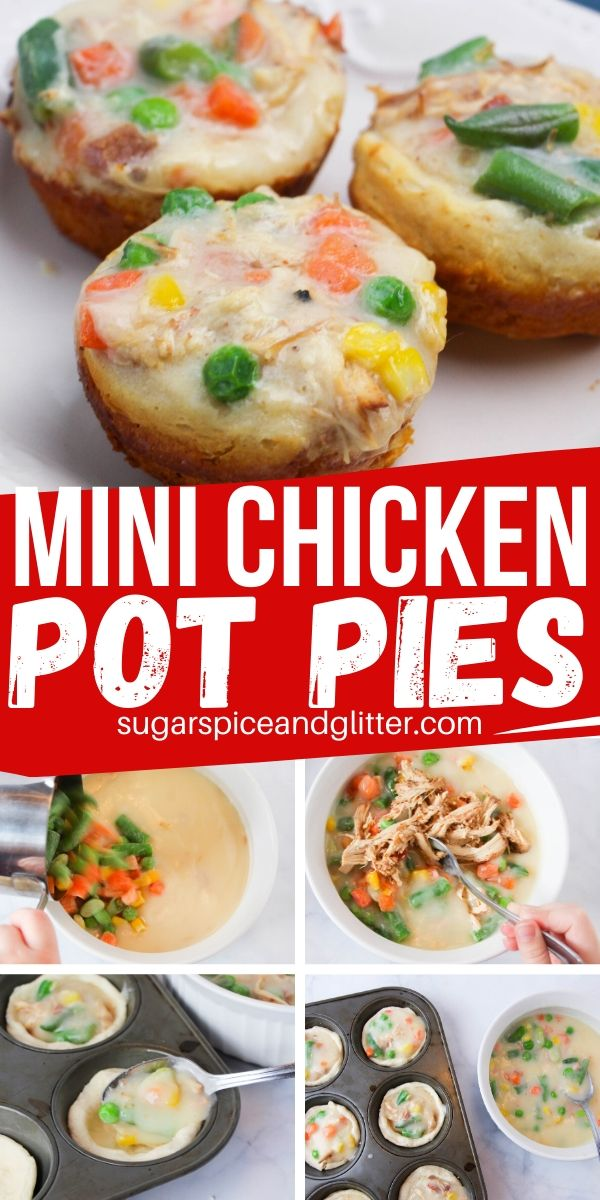 How to make mini chicken pot pies - a super easy recipe kids can help make with only 4 ingredients. Perfect for an appetizer or main dish