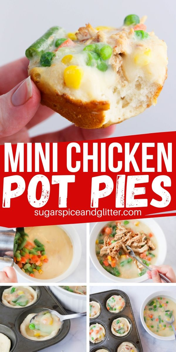Perfect mini chicken pot pies - made with biscuit dough! These are such a fun option for kids, with a creamy gravy, perfectly cooked vegetables and a buttery crust. Only 4 ingredients and super delicious