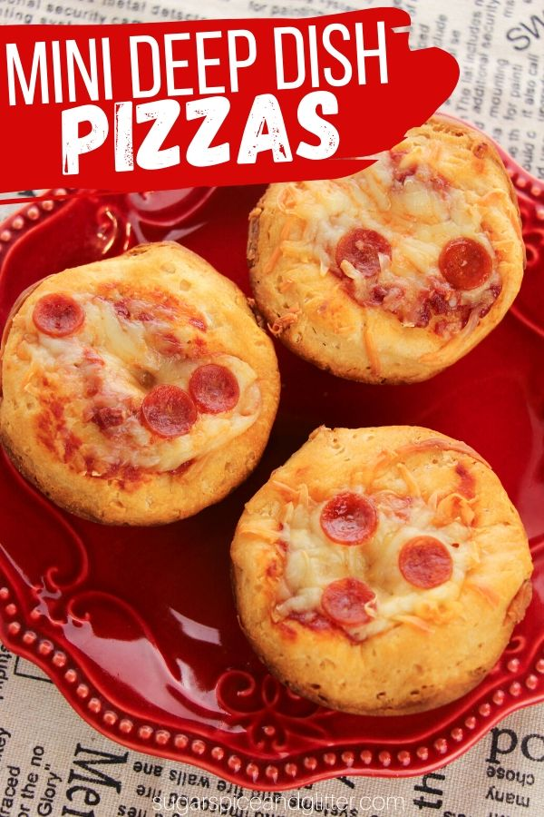A fun 4-ingredient pizza appetizer recipe that kids can make - perfect for parties or lunch boxes. These Mini Deep Dish pizzas are so much fun!