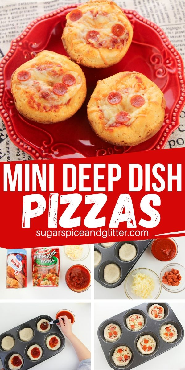 A fun pizza party food - Mini Deep Dish Pizzas! Just 4 ingredients and 15 minutes total time, making these super easy for kids to make for family pizza night or a party appetizer