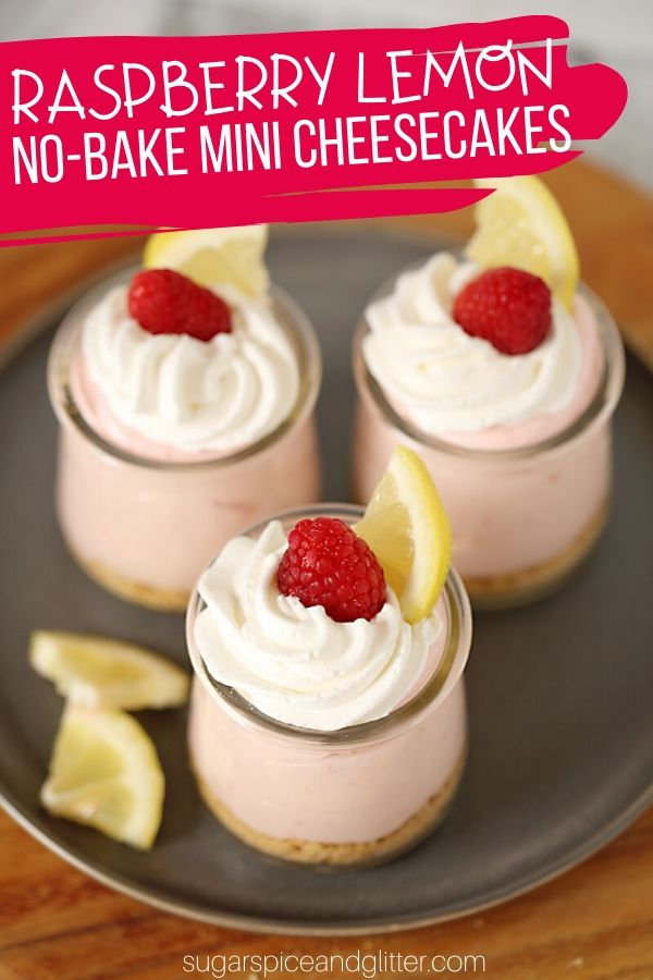 How to make these super simple no-bake raspberry cheesecakes with no artificial flavoring - just real raspberries and lemon