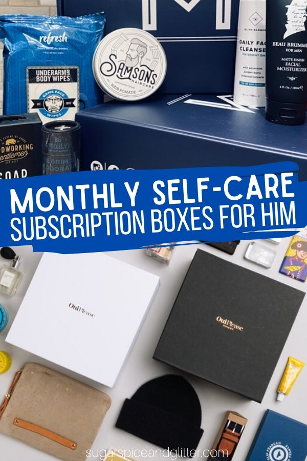 Monthly Self-care Subscription Boxes for him - perfect for a college student or husband/boyfriend you just want to pamper