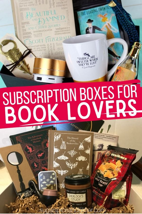 Unique Subscription Boxes for Book Lovers - pick one that just delivers a new monthly book, or a box that comes with fun extras inspired by the month's book selection. Perfect for a book club!