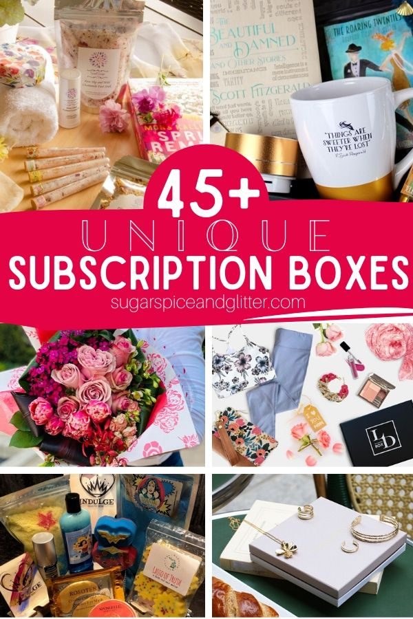 These unique subscription boxes are the gift that keeps on giving! Give one month or treat her to a year's worth of surprises. Options for just about every interest - book lovers, jewelry lovers, cocktails, travel-inspired, self-care, and more!