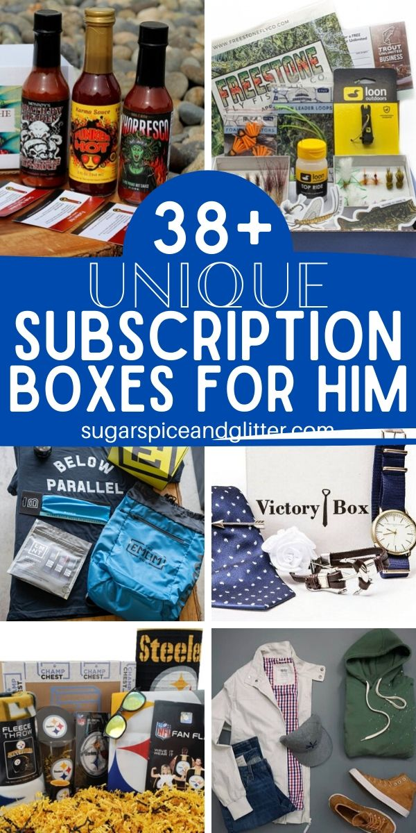 Unique subscription boxes for the men in your life. So many fun options to choose from - buy just one box or subscribe him for a few months for a gift that keeps on giving! Boxes as unique as your man and catered to his interests