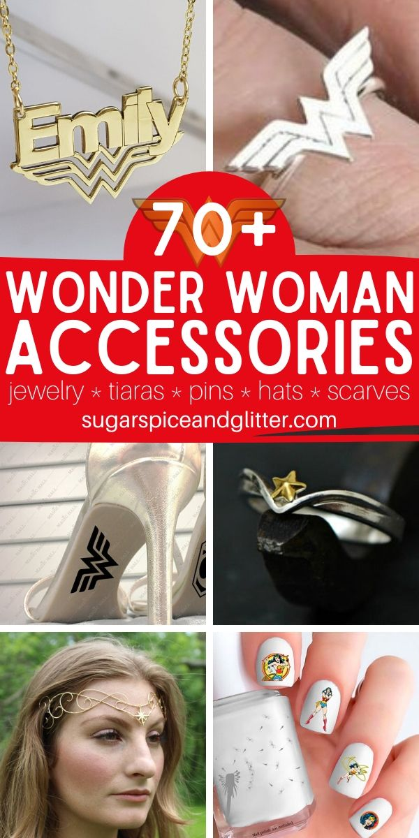 Over 70 Unique and gorgeous Wonder Woman Accessories for the wonderful woman in your life (or a special treat for yourself). Everything from rings and cuffs, to hair accessories and wallets
