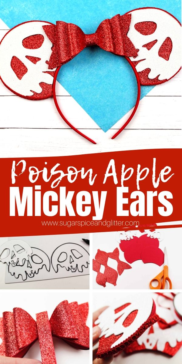 A super cute DIY Mickey Ears headband inspired by Snow White or the Descendents! Grab our free printable template to make these DIY Poison Apple Ears yourself