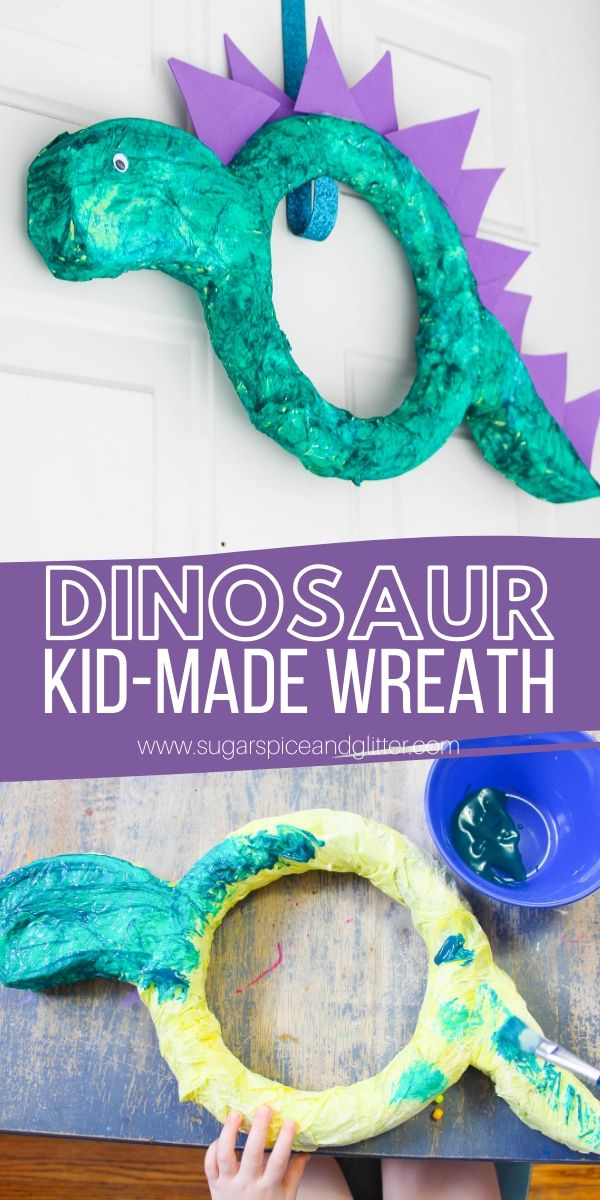 How to make a Super Simple Dinosaur Wreath, a fun dinosaur craft preschoolers can make! It would be great for a dinosaur party, after reading Puff the Magic Dragon, or for a Good Dinosaur movie night