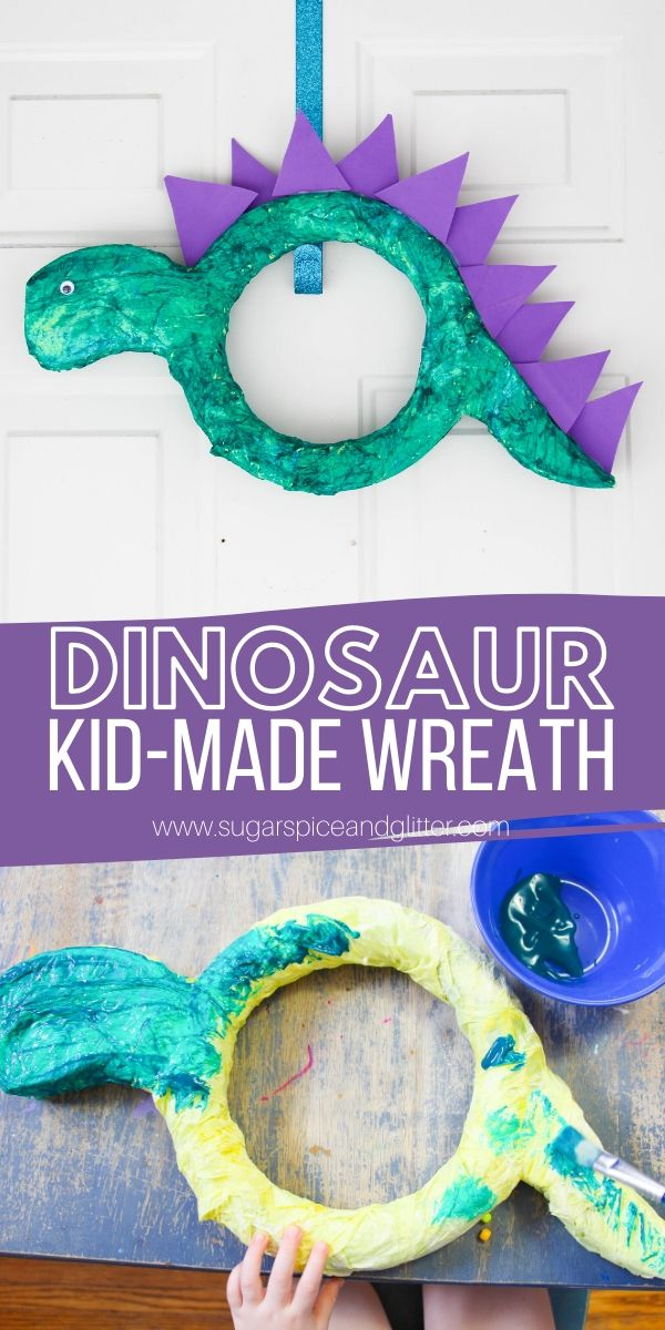 This Dinosaur Wreath is a super simple dinosaur craft for kids to make, whether to add to a Dinosaur themed bedroom, Dinosaur party or give as a fun Father's Day gift