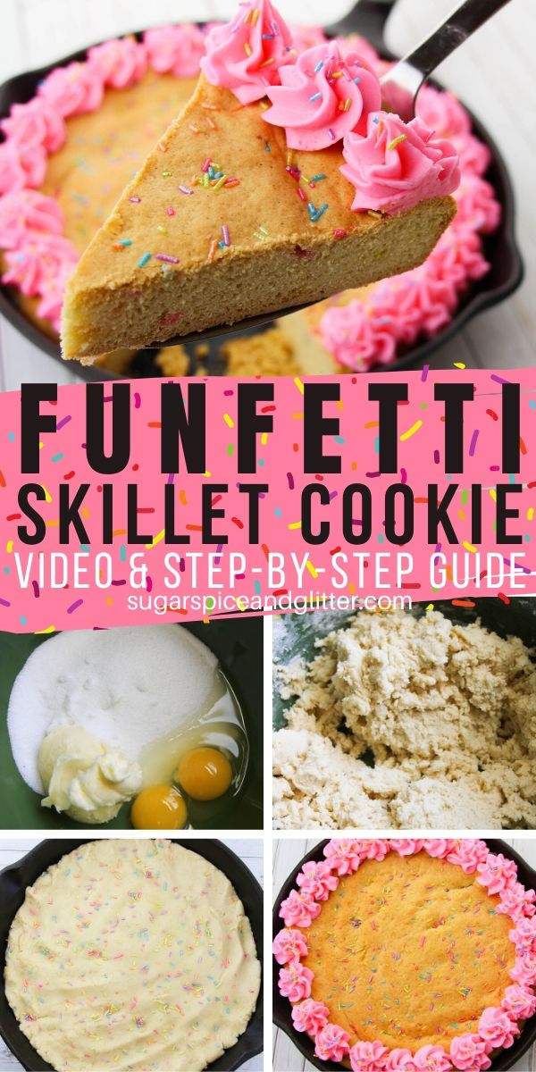 A super simple skillet dessert with plenty of sprinkles. This funfetti skillet cookie is perfect for birthdays - especially if the birthday boy or girl doesn't like cake.
