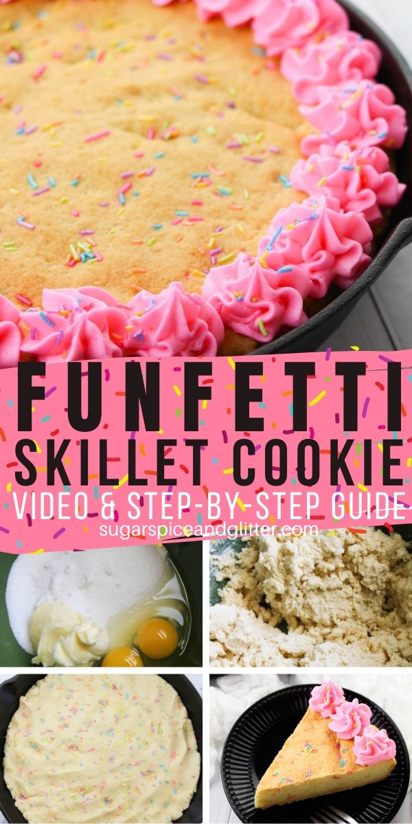How to make a giant funfetti sprinkle cookie. This Funfetti Skillet Cookie has amazing flavor, homemade buttercream frosting and plenty of sprinkles - perfect for a special occasion or birthday cookie cake