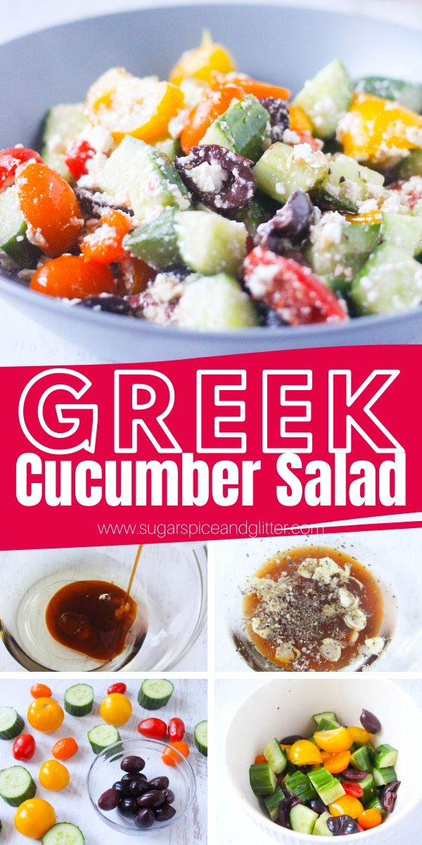 How to make a delicious, crunchy and flavorful Greek cucumber salad with homemade Greek salad dressing - perfect for a healthy summer lunch