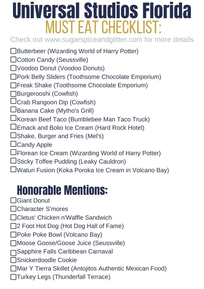 Free Printable Checklist for the MUST EAT FOOD at Universal Studios Florida - check out the full post for more details and tips