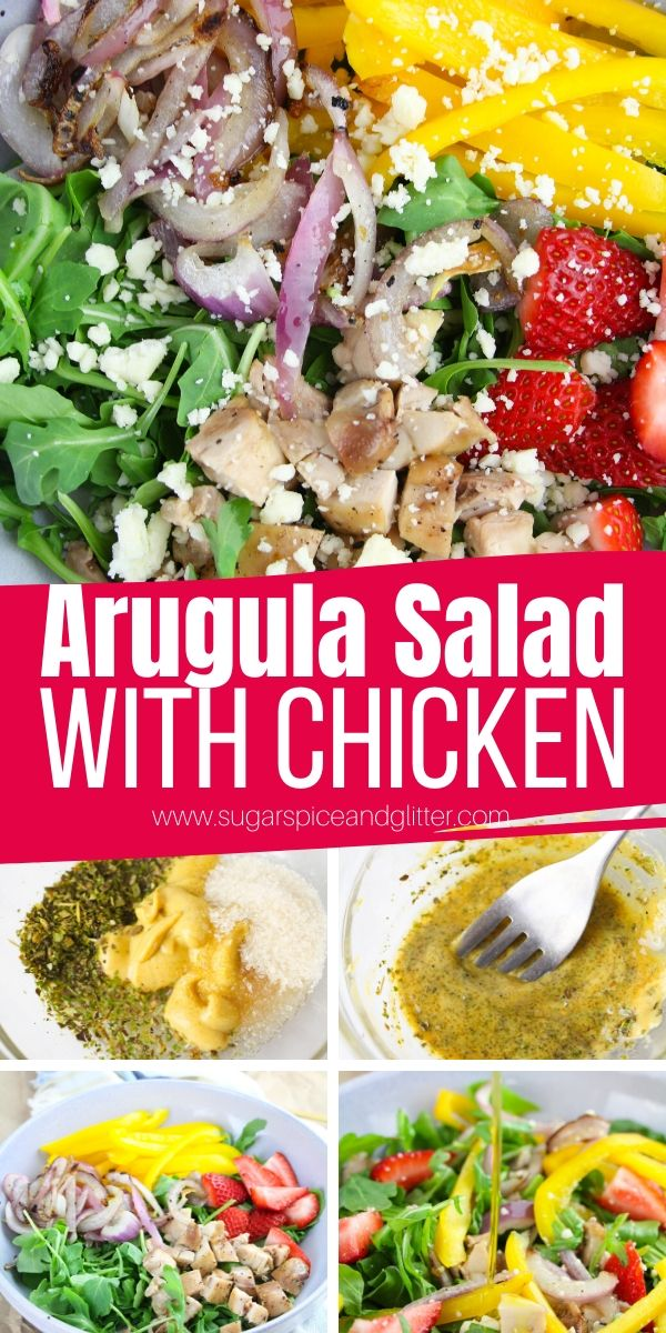 How to make the BEST Arugula Salad with Chicken, homemade Italian-dion dressing, charred peppers and red onions - and some strawberries and feta cheese to top it all off! This summer salad is perfect for helping you achieve your healthy eating goals