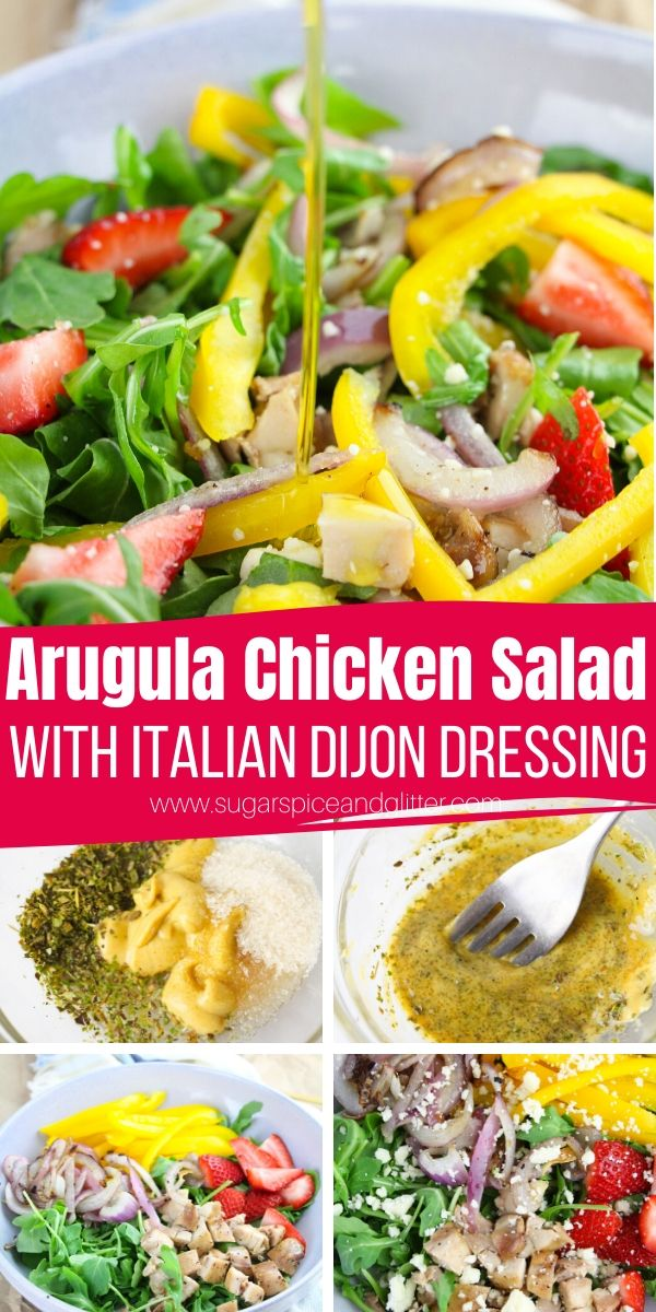 A super simple Arugula Salad with Chicken and homemade Italian-dijon dressing is the perfect meal-sized salad for when you want something healthy yet filling. Perfect for a summer supper or lunch prep
