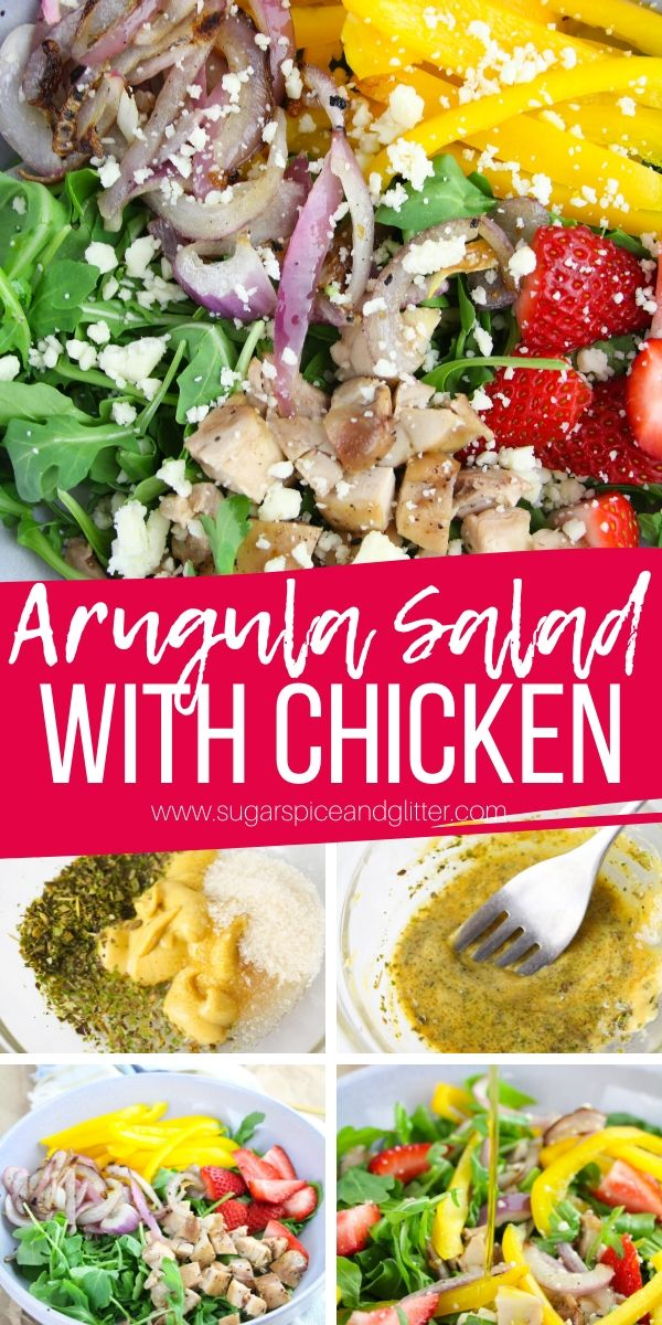 This easy Italian salad features arugula, chicken, charred red onions and bell peppers, strawberries, feta and a homemade Italian-dijon dressing that you will be licking off the bowl! So good, so healthy and so filling!